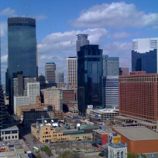 Looking down on Minneapolis